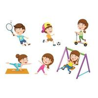 illustration isolated of activity healthy childhood vector