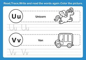 Alphabet U V exercise with cartoon vocabulary for coloring book illustration vector
