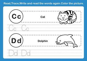 Alphabet C D exercise with cartoon vocabulary for coloring book illustration vector