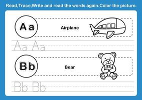 Alphabet A B exercise with cartoon vocabulary for coloring book illustration vector
