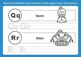 Alphabet Q R exercise with cartoon vocabulary for coloring book illustration vector