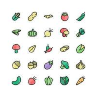 Vegetable icon set vector flat line for website mobile app presentation social media Suitable for user interface and user experience