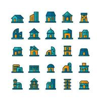 Building icon set vector flat line for website mobile app presentation social media Suitable for user interface and user experience