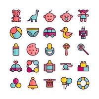 Baby Toys icon set vector flat line for website mobile app presentation social media Suitable for user interface and user experience