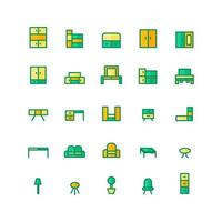 Furniture icon set vector flat line for website mobile app presentation social media Suitable for user interface and user experience