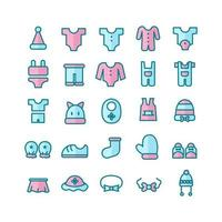 Baby Clothes icon set vector flat line for website mobile app presentation social media Suitable for user interface and user experience