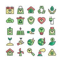 Ecology icon set vector flat line for website mobile app presentation social media Suitable for user interface and user experience