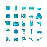 Hotel icon set vector flat line for website mobile app presentation social media Suitable for user interface and user experience