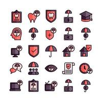 Insurance icon set vector flat line for website mobile app presentation social media Suitable for user interface and user experience