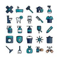 Cleaning icon set vector flat line for website mobile app presentation social media Suitable for user interface and user experience