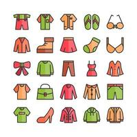Fashion icon set vector flat line for website mobile app presentation social media Suitable for user interface and user experience