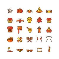 Halloween icon set vector flat line for website mobile app presentation social media Suitable for user interface and user experience