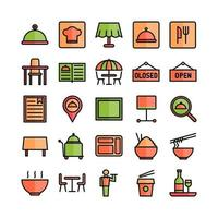 Restaurant icon set vector flat line for website mobile app presentation social media Suitable for user interface and user experience