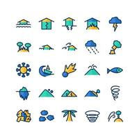 Disaster icon set vector flat line for website mobile app presentation social media Suitable for user interface and user experience