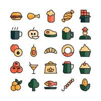 Food icon set vector flat line for website mobile app presentation social media Suitable for user interface and user experience