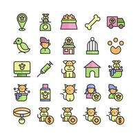 Pet icon set vector flat line for website mobile app presentation social media Suitable for user interface and user experience