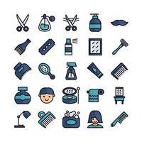 barber icon set vector línea plana para la presentación de la aplicación móvil del sitio web redes sociales adecuadas para la interfaz de usuario y la experiencia del usuario