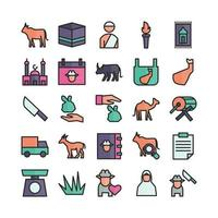 Qurban icon set vector flat line for website mobile app presentation social media Suitable for user interface and user experience
