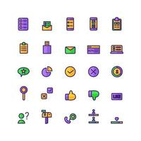 Survey icon set vector flat line for website mobile app presentation social media Suitable for user interface and user experience