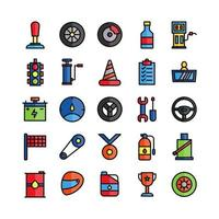 Racing icon set vector flat line for website mobile app presentation social media Suitable for user interface and user experience