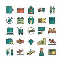 Airport icon set vector flat line for website mobile app presentation social media Suitable for user interface and user experience