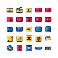 Video Player icon set vector flat line for website mobile app presentation social media Suitable for user interface and user experience