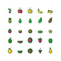 Fruit icon set vector flat line for website mobile app presentation social media Suitable for user interface and user experience