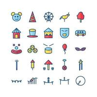 Carnival icon set vector flat line for website mobile app presentation social media Suitable for user interface and user experience