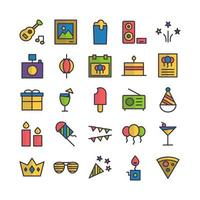 Party icon set vector flat line for website mobile app presentation social media Suitable for user interface and user experience