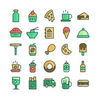 Fast Food icon set vector flat line for website mobile app presentation social media Suitable for user interface and user experience