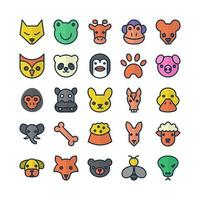 Animal icon set vector flat line for website mobile app presentation social media Suitable for user interface and user experience