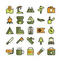 Adventure icon set vector flat line for website mobile app presentation social media Suitable for user interface and user experience