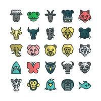 Zoo icon set vector flat line for website mobile app presentation social media Suitable for user interface and user experience
