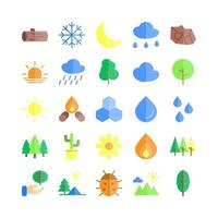 Nature icon set vector flat for website mobile app presentation social media Suitable for user interface and user experience