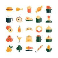 Food icon set vector flat for website mobile app presentation social media Suitable for user interface and user experience