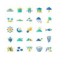 Disaster icon set vector flat for website mobile app presentation social media Suitable for user interface and user experience