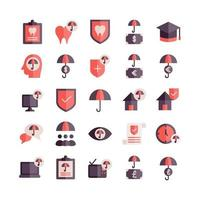 Insurance icon set vector flat for website mobile app presentation social media Suitable for user interface and user experience