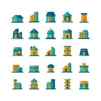 Building icon set vector flat for website mobile app presentation social media Suitable for user interface and user experience