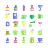 Beverage icon set vector flat for website mobile app presentation social media Suitable for user interface and user experience