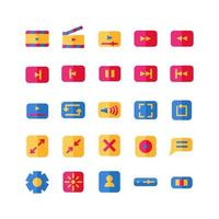 Video Player icon set vector flat for website mobile app presentation social media Suitable for user interface and user experience