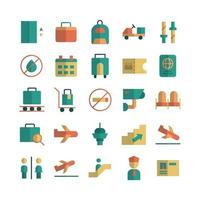 Airport icon set vector flat for website mobile app presentation social media Suitable for user interface and user experience