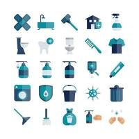 Cleaning icon set vector flat for website mobile app presentation social media Suitable for user interface and user experience