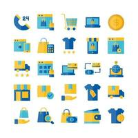 Ecommerce icon set vector flat for website mobile app presentation social media Suitable for user interface and user experience