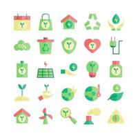 Ecology icon set vector flat for website mobile app presentation social media Suitable for user interface and user experience