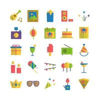 Party icon set vector flat for website mobile app presentation social media Suitable for user interface and user experience