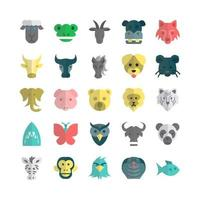 Zoo icon set vector flat for website mobile app presentation social media Suitable for user interface and user experience