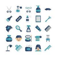 barber icon set vector flat para presentación de aplicaciones móviles de sitios web redes sociales adecuadas para la interfaz de usuario y la experiencia del usuario