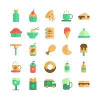 conjunto de iconos de comida rápida vector plano para la presentación de la aplicación móvil del sitio web redes sociales adecuadas para la interfaz de usuario y la experiencia del usuario
