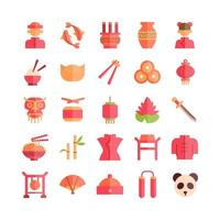 Chinese icon set vector flat for website mobile app presentation social media Suitable for user interface and user experience