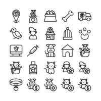 Pet icon set vector line for website mobile app presentation social media Suitable for user interface and user experience